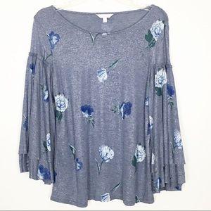 Lucky Brand Blue Duquet Floral Ruffle Top
